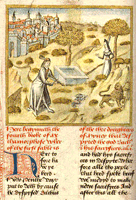 Pyramus and Thisbe, Caxton's translation of Ovid's Metamorphoses, circa 1480