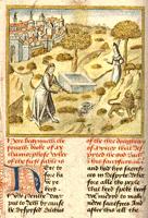 Pyramus and Thisbe, Caxton's translation of Ovid's Metamorphoses, circa 1480