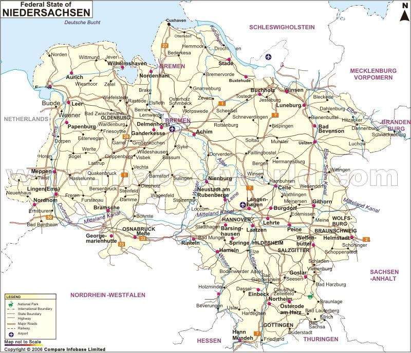 Niedersachsen--map