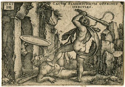 Hercules killing Cacus at his cave (Sebald Beham)