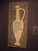 Garum, picture from the villa of Aulus Umbricius Scaurus, Pompeii; G(ari) F(los) SCAM(bri) SCAURI