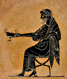 Seated Dionysos holding out a kantharos