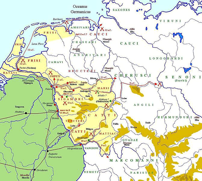 A map of the German campaigns of Drusus