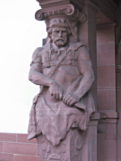 Empfangsgebäude Kaiser Wilhelms II. in Bad Homburg; Detail: Arminius