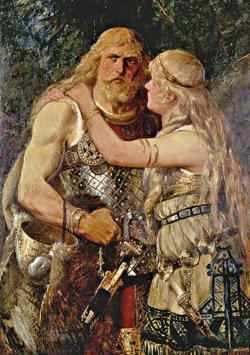 Johannes Gehrts: Armin verabschiedet sich von Thusnelda, 1884 (Lippisches Landesmuseum Detmold)