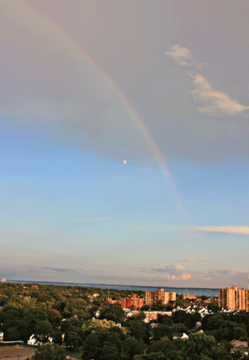 Rainbow and moon