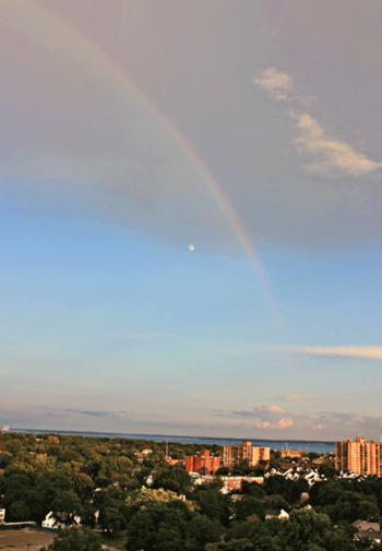 Rainbow and moon
