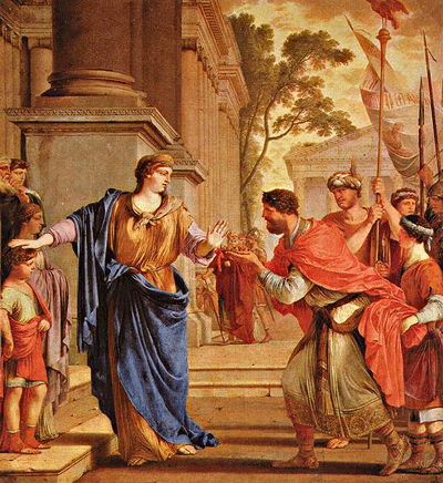 Cornelia pushes away Ptolemy's crown, by Laurent de La Hyre, 1646