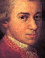 Wolfgang Amadeus Mozart mit Schwester Maria Anna und Vater Leopold, an der Wand ein Portrait der verstorbenen Mutter, Anna Maria. Gemälde von Johann Nepomuk della Croce, um 1780 (detail of the face of W. A. Mozart)