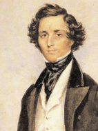 Felix Mendelssohn Bartholdy at the age of 30 in London, watercolor painting by James Warren Childe (detail), 1839
