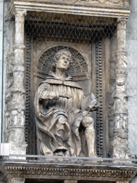 Statue of Pliny the Younger on the façade of Cathedral of S. Maria Maggiore in Como