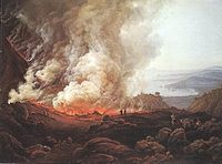 Eruption of Vesuvius. Painting by Norwegian painter I.C. Dahl (1826)