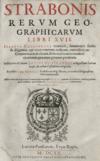 Title page of Strabon's Rerum geographicarum libri XVII. I.Casaubonius recensuit. G. Xylandri recognita. Acc. E Morelli observatiunculae. Paris, Typis Reglis 1620