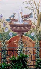 Pompejanum, wall paintings in the viridarium, click for more photos