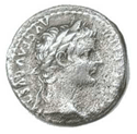 The tribute penny mentioned in the Bible is commonly believed to be a Roman denarius depicting Tiberius