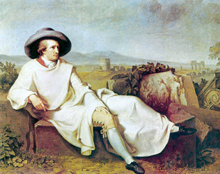 J. H. W. Tischbein, Goethe in the Roman Campagna, 1787, click for larger image