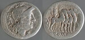 AR denarius, Q. Caecilius Metellus, Roman Republic. 130 BCE, click for more