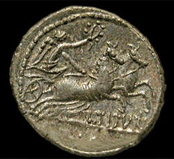 denarius depicting winged Victory driving a chariot, minted at Rome, 89 BCE