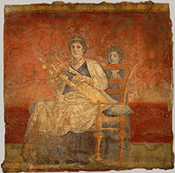 Seated woman playing a kithara, click for more