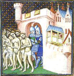 Cathars being expelled from Carcassone in 1209, click here
