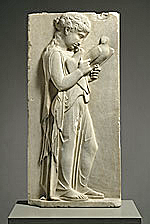 Marble grave stele of a little girl, click for gallery
