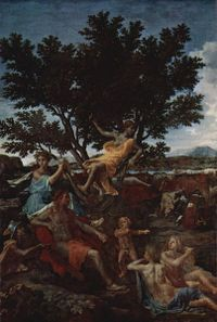 nicolas_poussin's later version of apollo and daphne, public domain picture from wikipedia