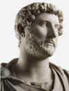 Marble bust of the Roman Emperor Hadrian wearing military dress. From Hadrian's Villa, Tivoli, Lazio, Italy, c. AD 118–130 © Trustees of the British Museum