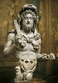 Commodus as Hercules, click for larger  image
