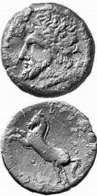 Coin of Massinissa, showing an unidentified man and a horse, from livius.org